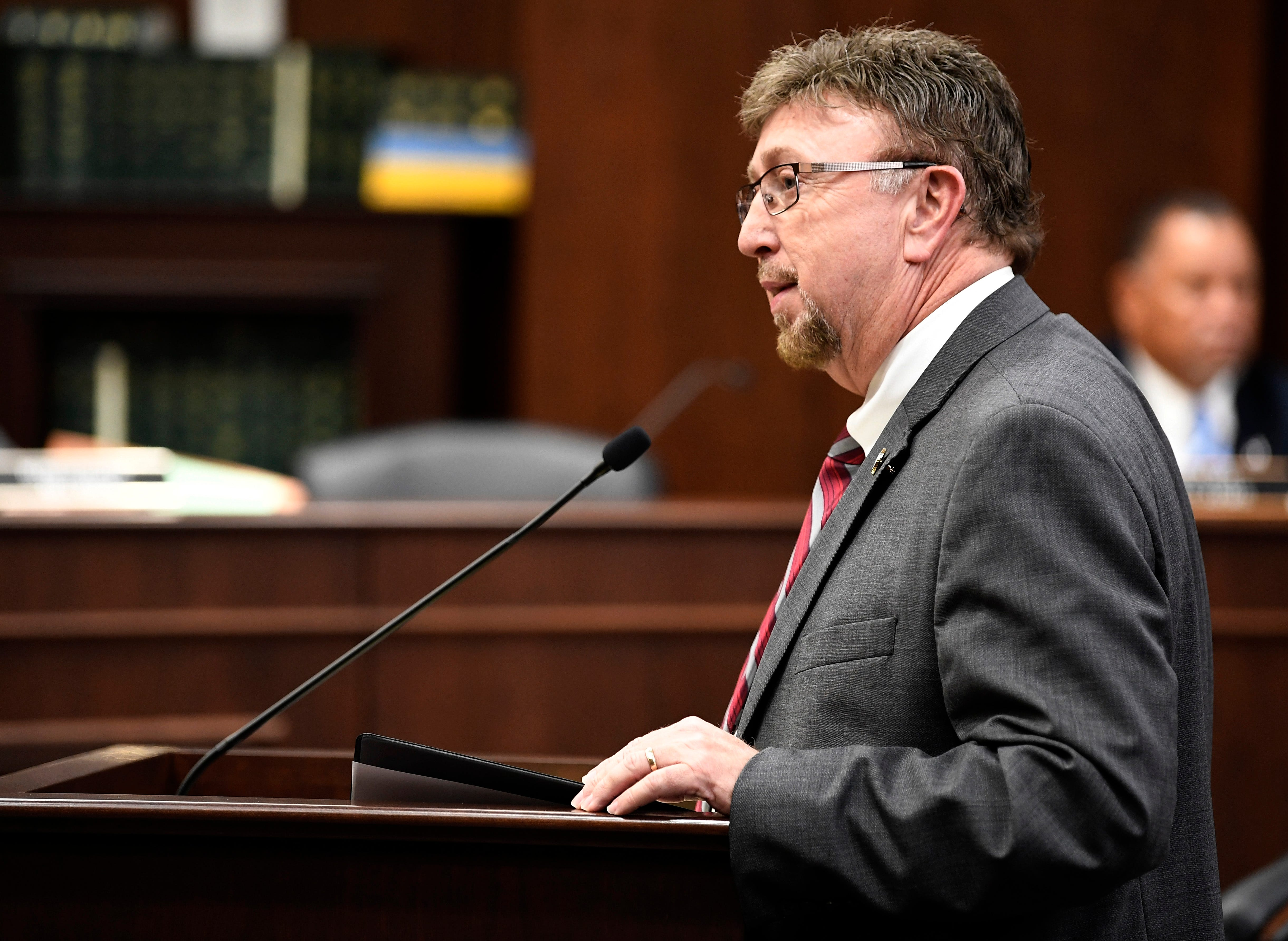 Rep. David Byrd speaks about a bill that would allow school employees to carry guns on Feb. 28. The bill was under consideration before the House Civil Justice Subcommittee in Nashville.