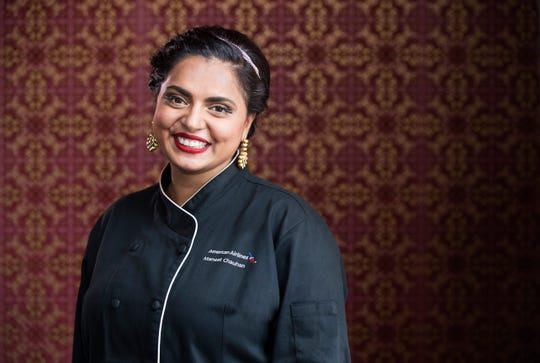 American Airlines has partnered with top chefs to create menus for their First and Business Class cabins. Their chef partners are Mark Sargeant, Julian Barsotti, Sam Choy and Maneet Chauhan, pictured here. Chauhan is behind Morph Hospitality Group restaurants in Nashville, Tenn., and is a featured judge on 'Chopped'. Her menus can be found on flights from the U.S. to Europe and South America.