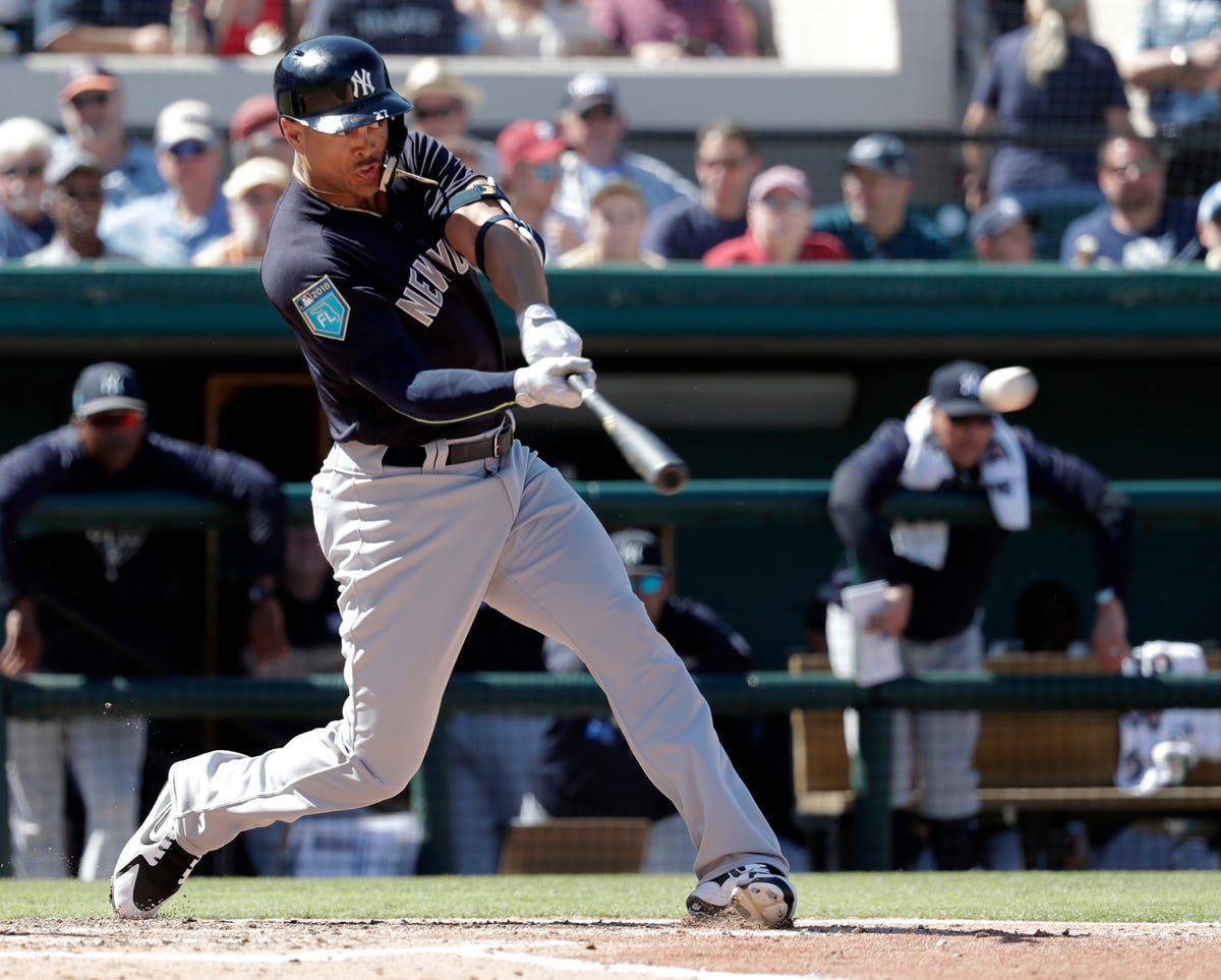 new concept e2716 94e42 Giancarlo Stanton smacks first HR at NY Yankees spring training