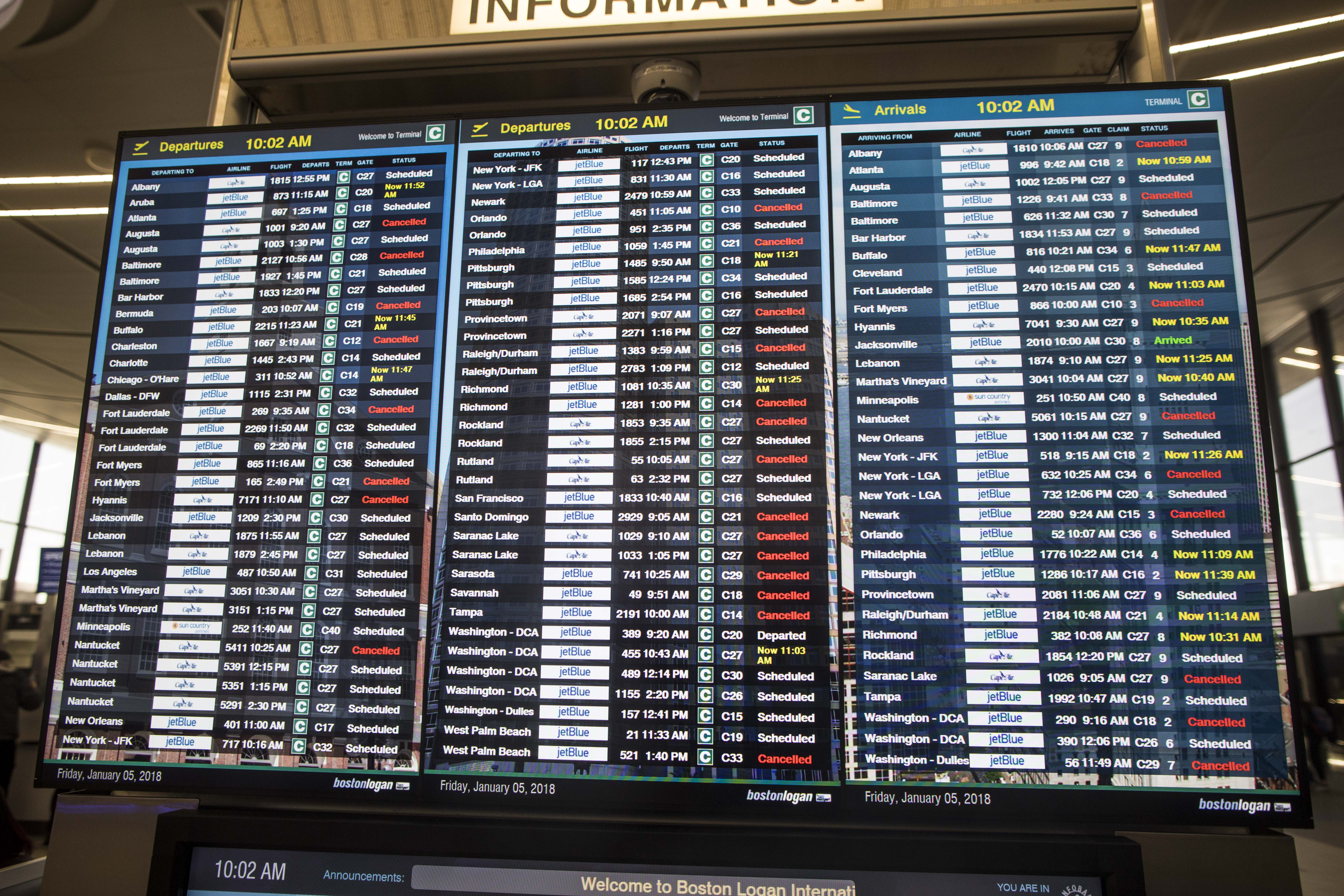 Tuesday: Most Boston flights grounded, 1,500+ cancellations nationwide