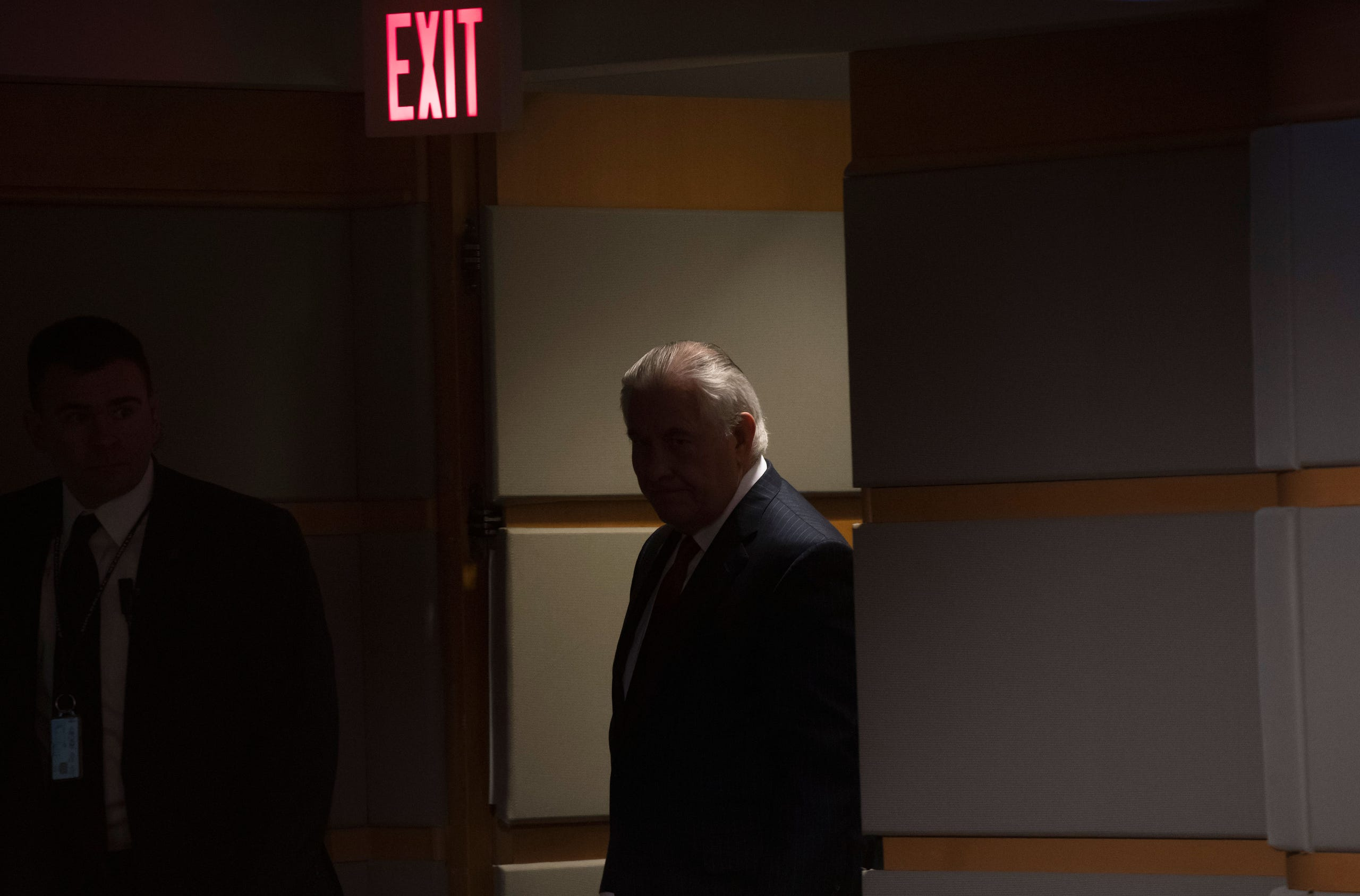 Rex Tillerson, outgoing U.S. Secretary of State arrives to makes a statement after his dismissal at the State Department in Washington, DC, March 13, 2018.
