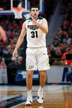 Mar 16, 2018; Detroit, MI, USA; Purdue Boilermakers guard Dakota Mathias (31) reacts to a play in the second half against the Cal State Fullerton Titans in the first round of the 2018 NCAA Tournament at Little Caesars Arena. Mandatory Credit: Rick Osentoski-USA TODAY Sports