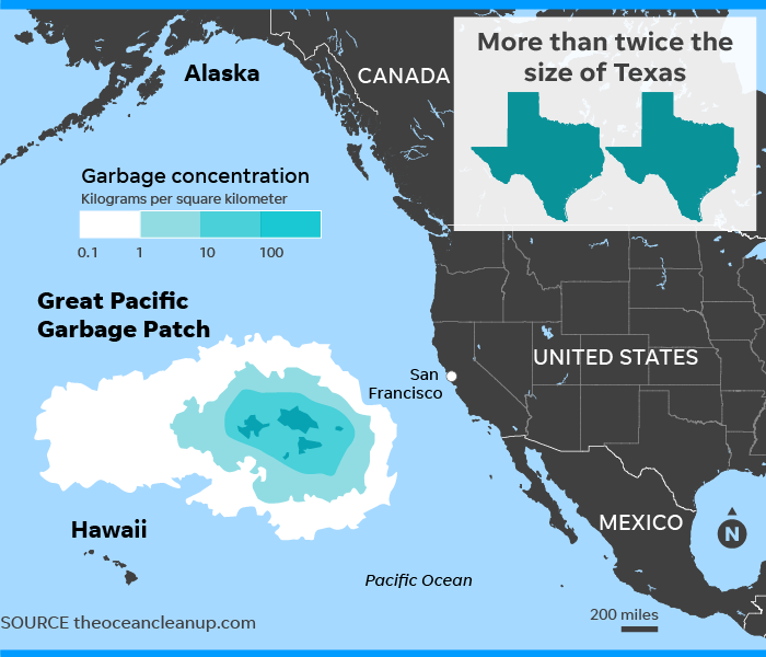 Pacific garbage patch, largest collection of ocean trash, grows