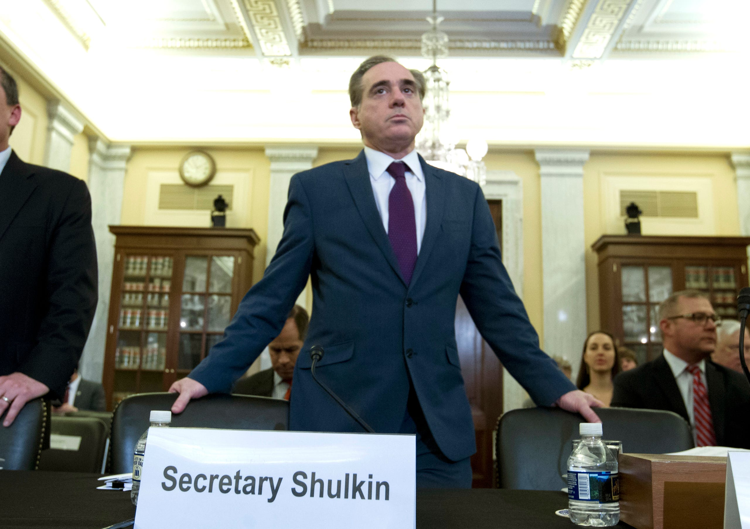 Embattled Veterans Affairs Secretary David Shulkin's ouster was announced March 28, 2018. He arrives to testify on veterans programs on Capitol Hill, March 21, 2018.
