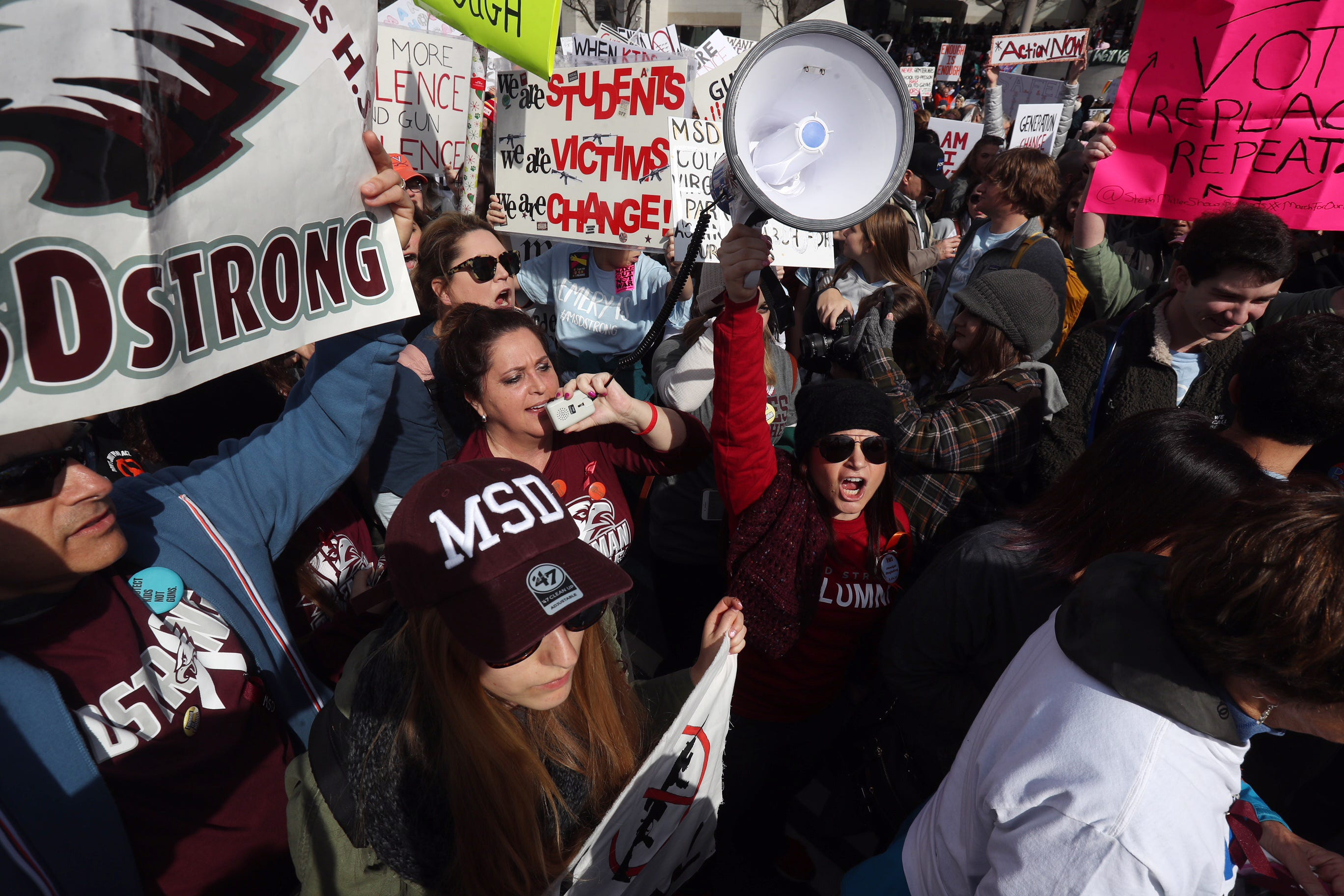 Students and adults with Marjory Stoneman Douglas High School attend the March For Our Lives Rally in Washington D.C. on Saturday 3/24/2018.