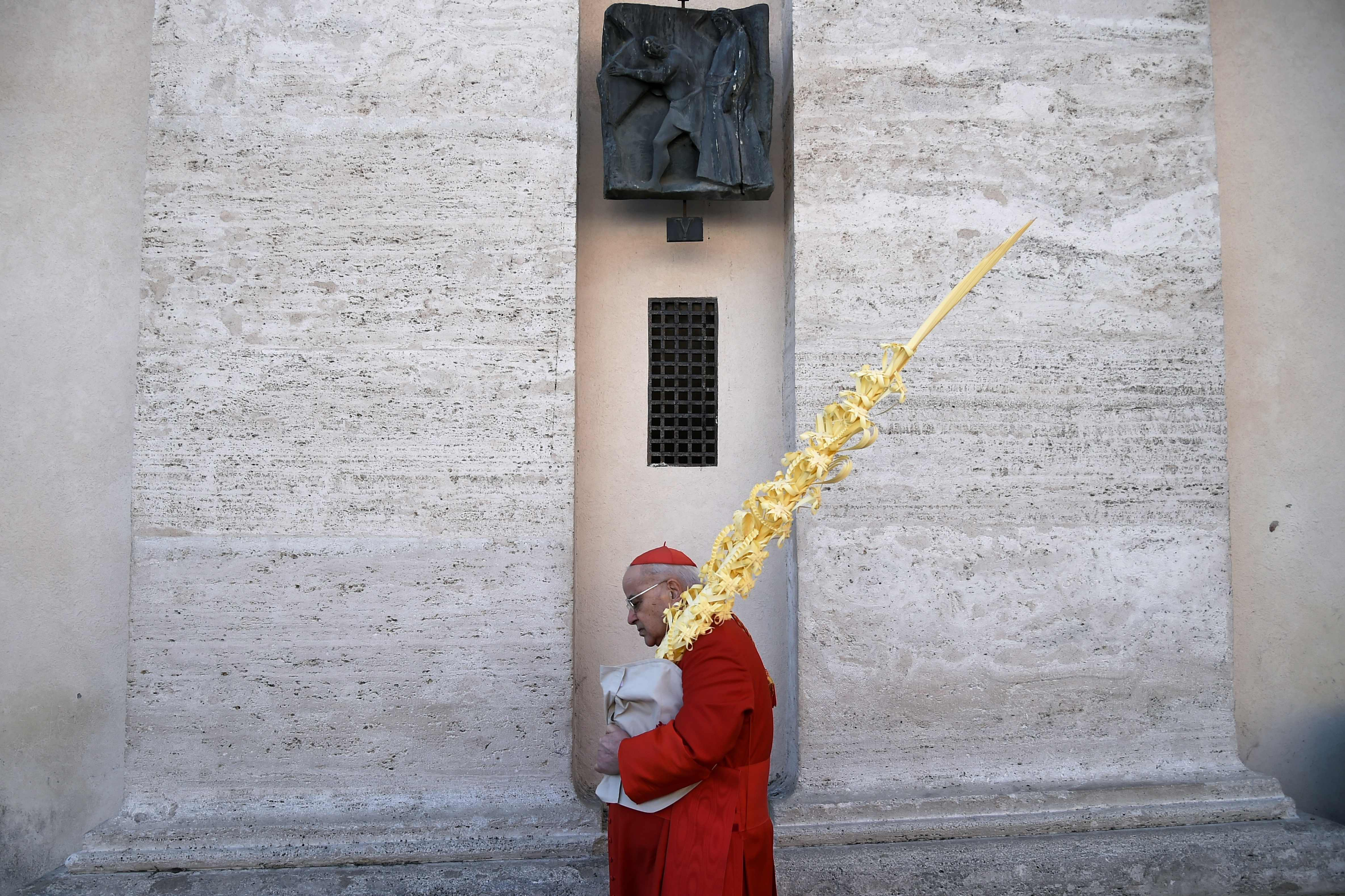 A cardinal holds palm leaves at the end of the Palm Sunday mass at St. Peter's square in the Vatican, on March 25, 2018.  Palm Sunday marks the sixth and last Sunday of the Christian Holy month of Lent and the beginning of Holy Week.
