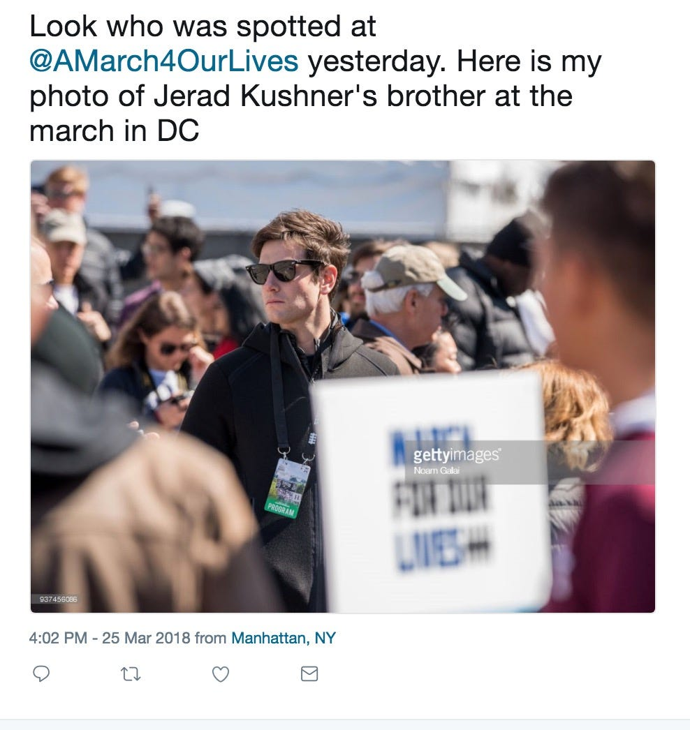Jared Kushner's brother attends March For Our Lives, reportedly gives $50,000 to cause