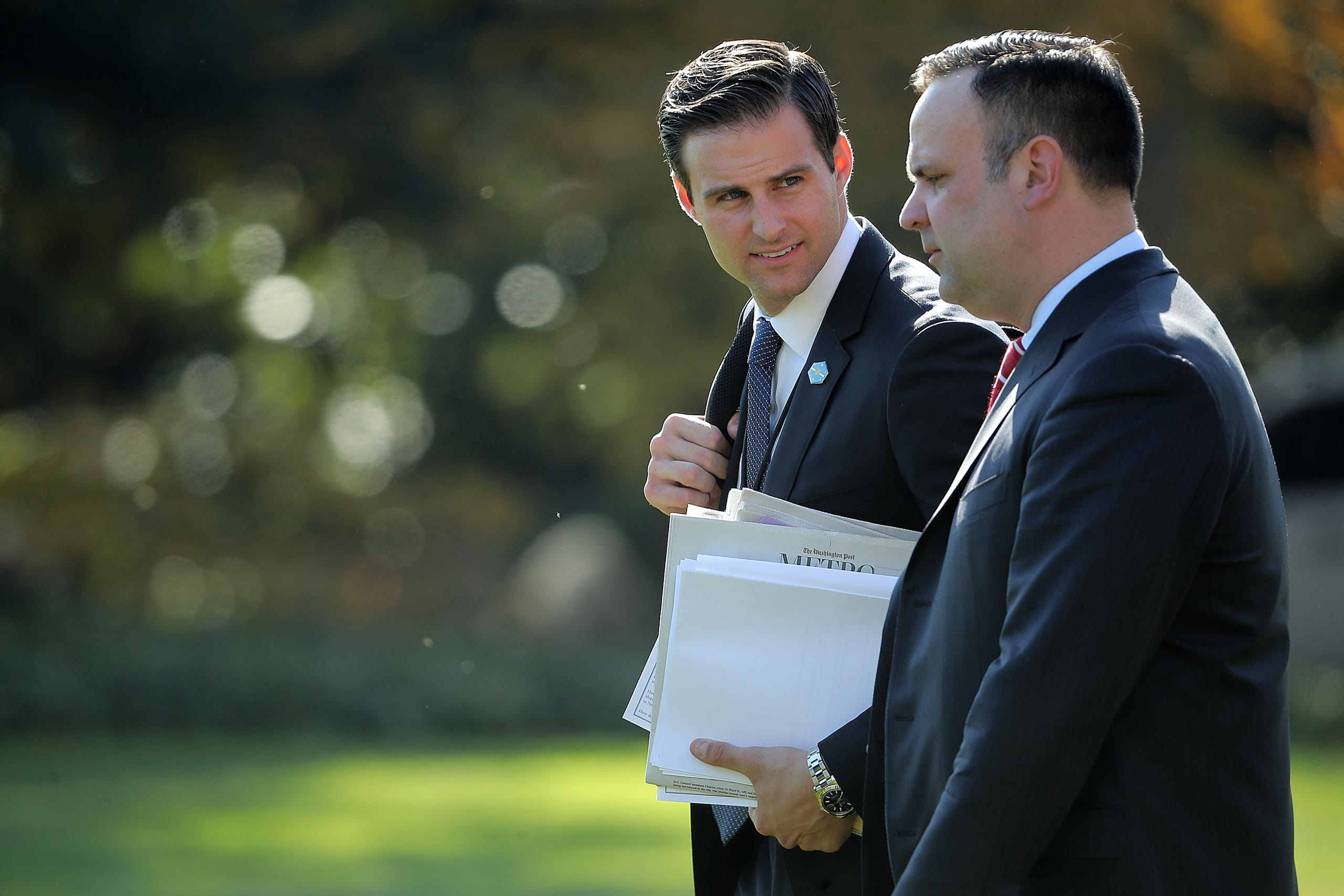 John McEntee, personal aide to President Trump, left was fired, March 12, 2018, for unspecified security reasons. He's seen with White House Director of Social Media Dan Scavino leaving the White House Nov. 29, 2017.
