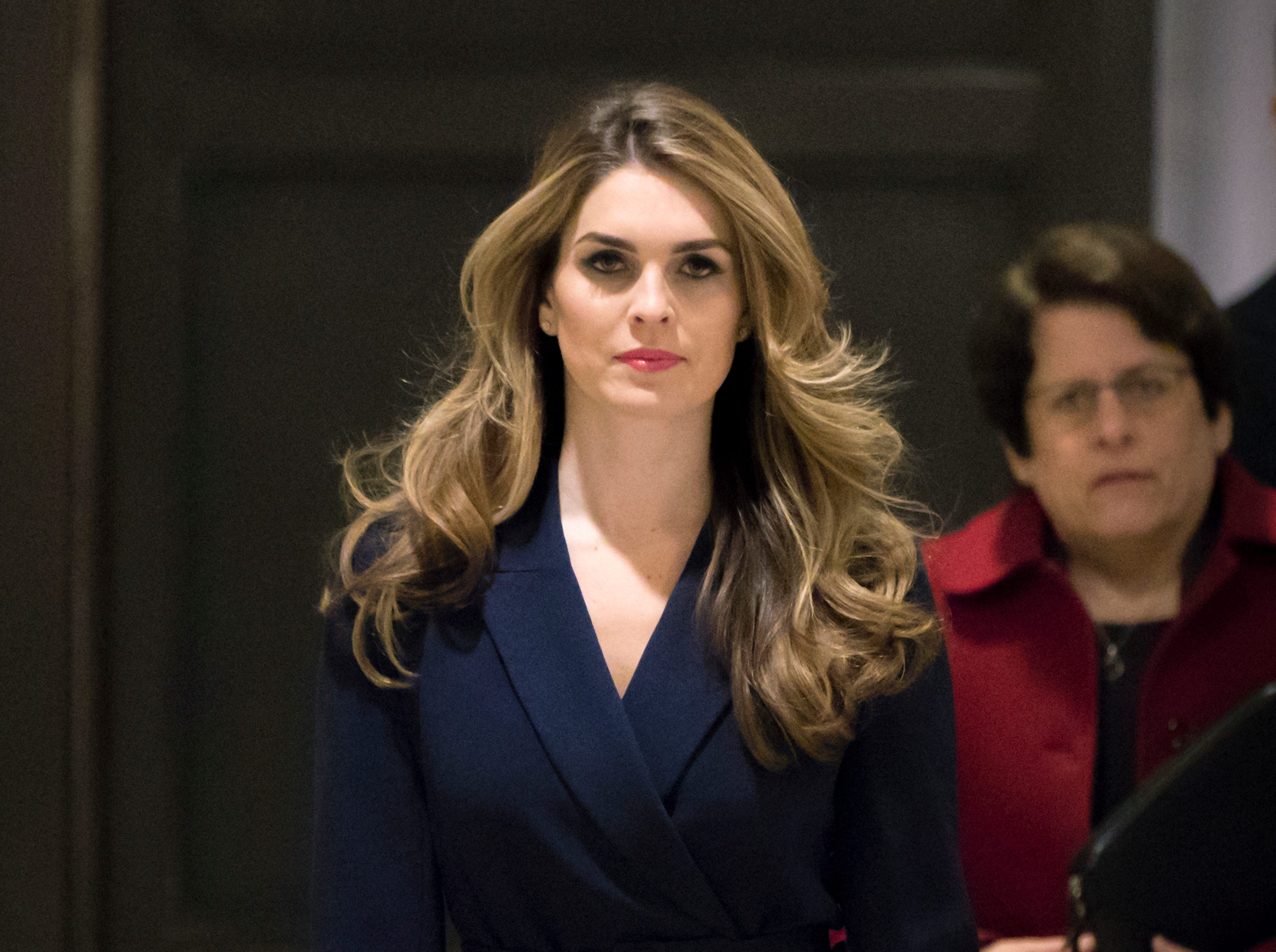 In this Feb. 27 2018 photo, White House Communications Director Hope Hicks, one of President Trump's closest aides and advisers, arrives to meet behind closed doors with the House Intelligence Committee, at the Capitol. Hicks announced her resignation Feb. 28, 2018. The news comes a day after Hicks was interviewed for nine hours by the panel investigating Russia interference in the 2016 election and contact between Trump's campaign and Russia.