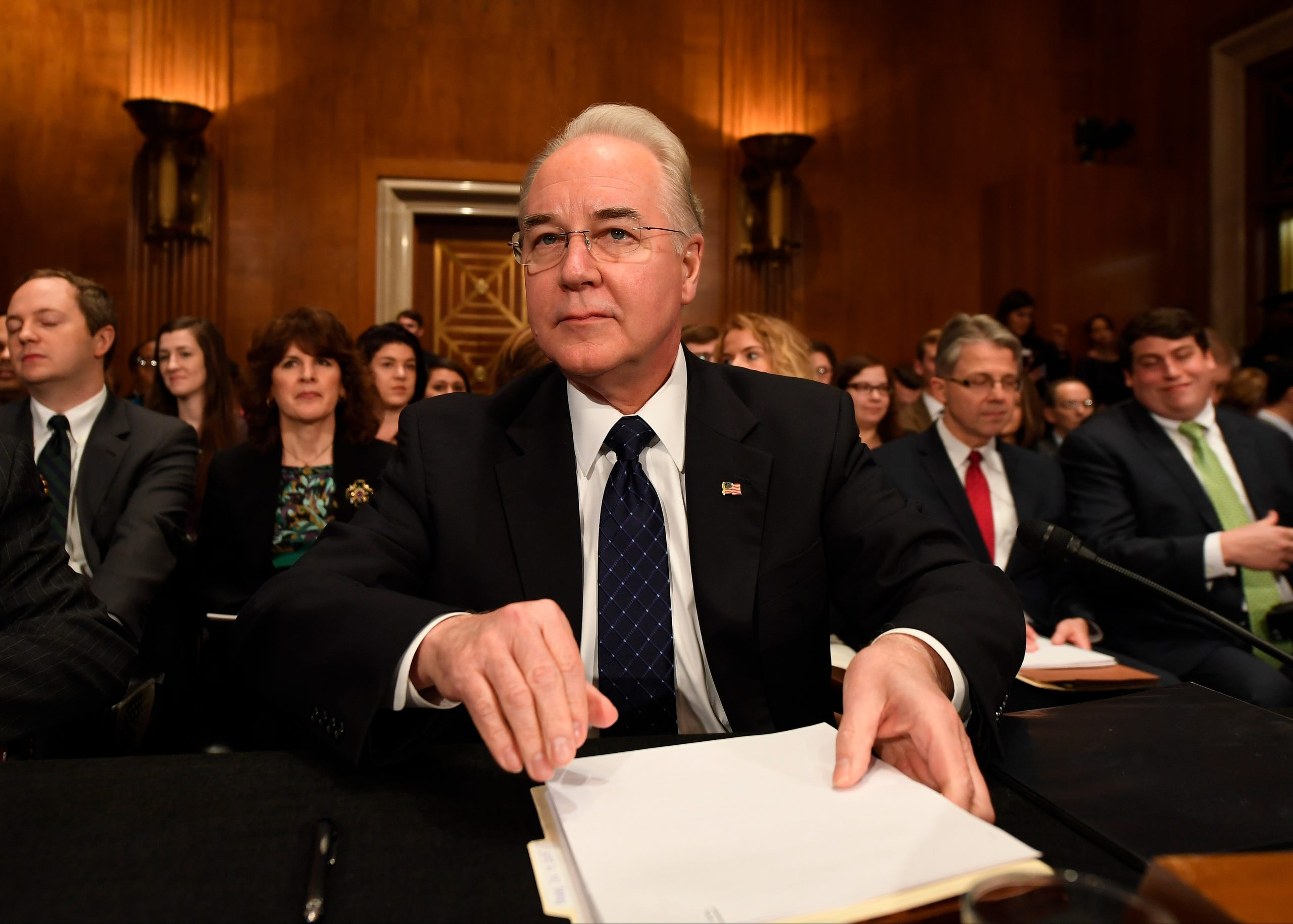On Sept. 29, 2017 Health and Human Services Secretary Tom Price resigned after his expensive private plane rides came to light. Then Rep. Tom Price, is seen on Jan 18, 2017, during a confirmation hearing before the Senate Foreign Relations Committee.