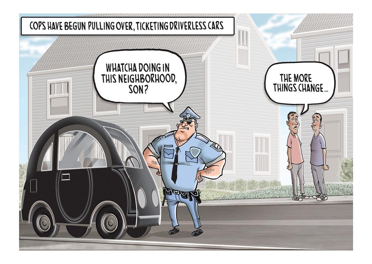 An autonomous vehicle got a traffic ticket.