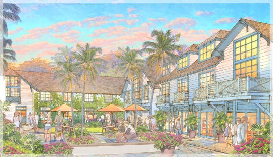 Rendering of Old Naples Hotel in downtown Naples. View from the courtyard.