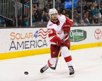 The Detroit Red Wings miss Mike Green, who misses playing as he recovers from virus. From Thursday, Oct. 18, 2018, in Tampa, Fla.