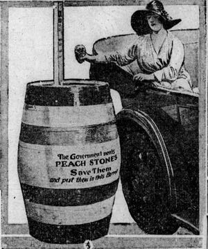 This illustration which encouraged the collection of peach pits for the war effort appeared in the Richmond Palladium-Item in 1918.