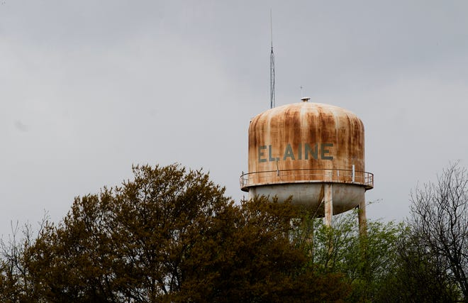 The water tower in Elaine, Ark., on Friday, April 13, 2018.