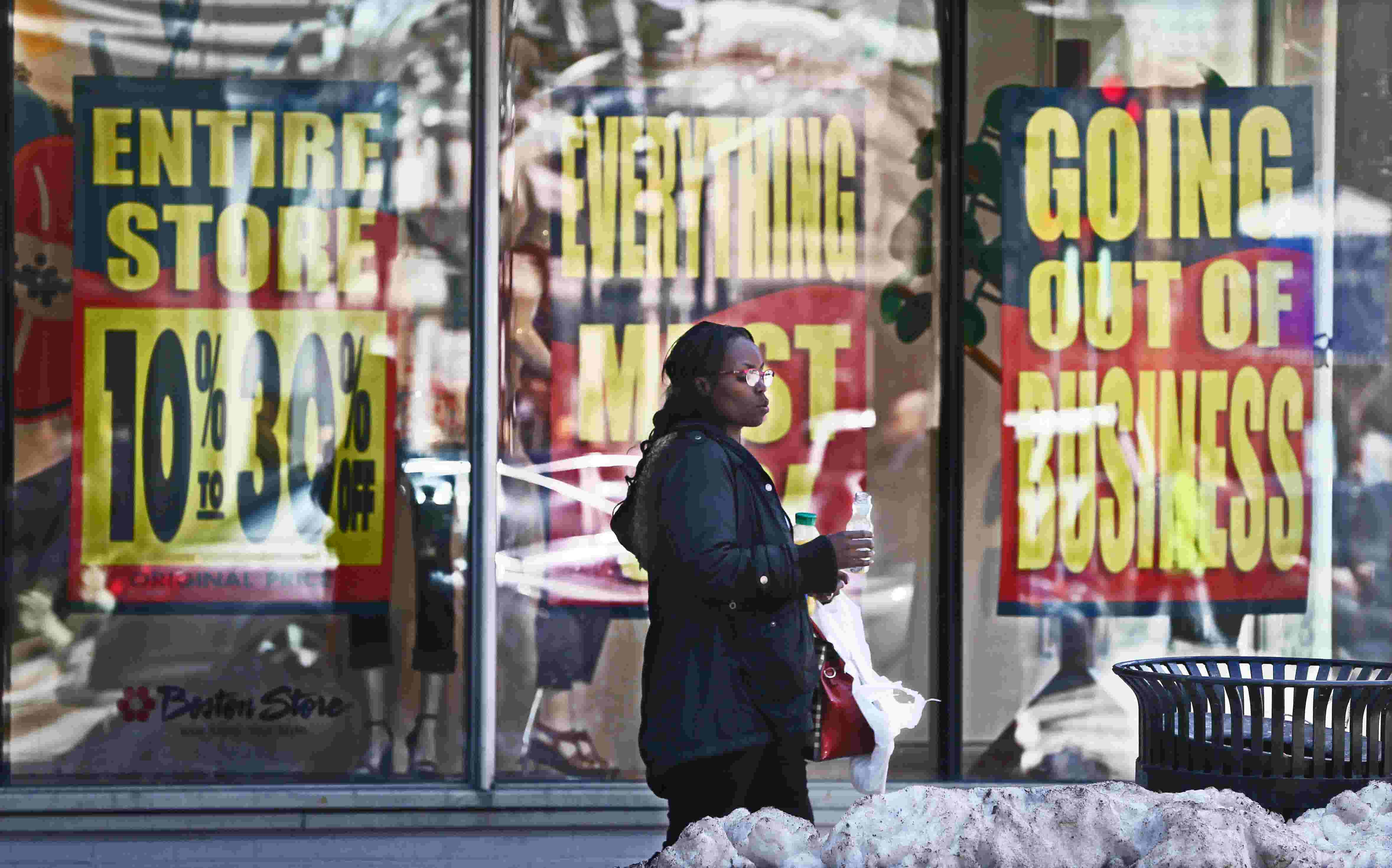 window nation prices as boston store liquidates goingoutofbusiness posters replace window displays at store