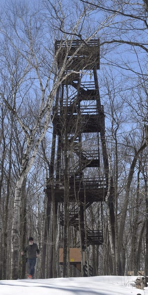 The 75-foot tower inside Potawatomi State Park in Sturgeon Bay in early April, 2018. A secure entrance barrier has been added since the announcement the tower will be permanently taken down due to significant decay in the structural and non-structural members of the tower.