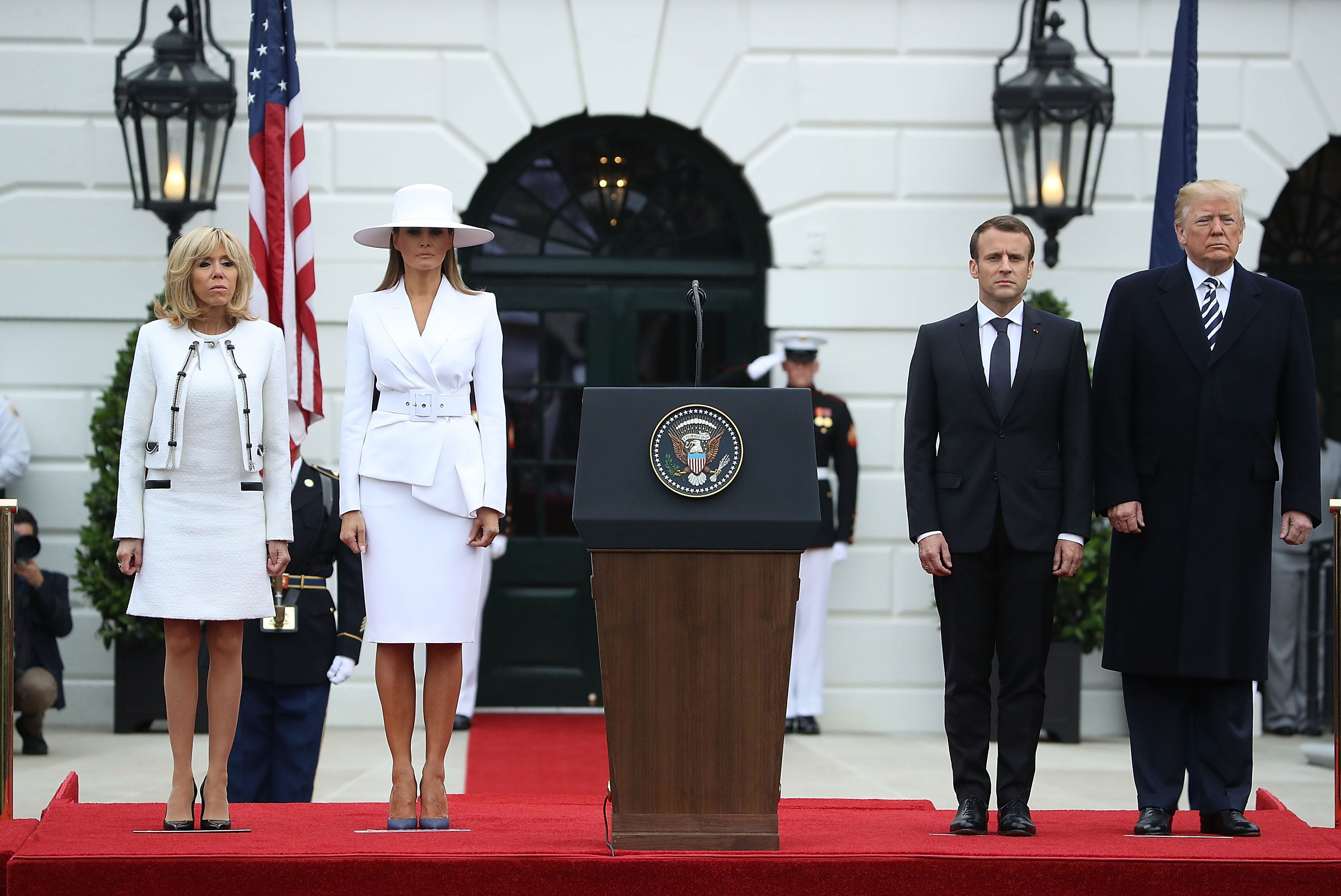 5a00491a79e Melania Trump channels Olivia Pope in white hat ensemble
