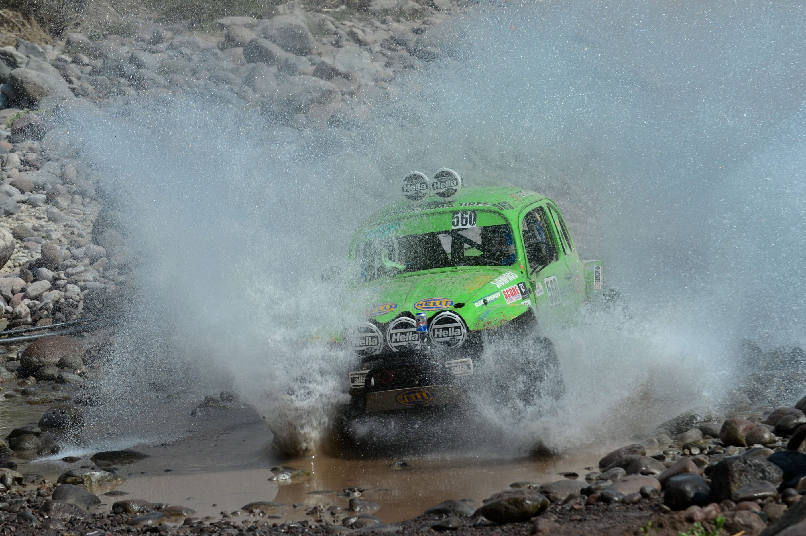 NORRA Vintage Buggy driver Ryan Baillargeon races through a stream during stage 1 of day 4 of the Mexican 1000 in San Javier, Mexico.