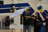 Everett Alvarez students went to the gym to celebrate their future after graduation and a surprise for one of them added to the celebration.