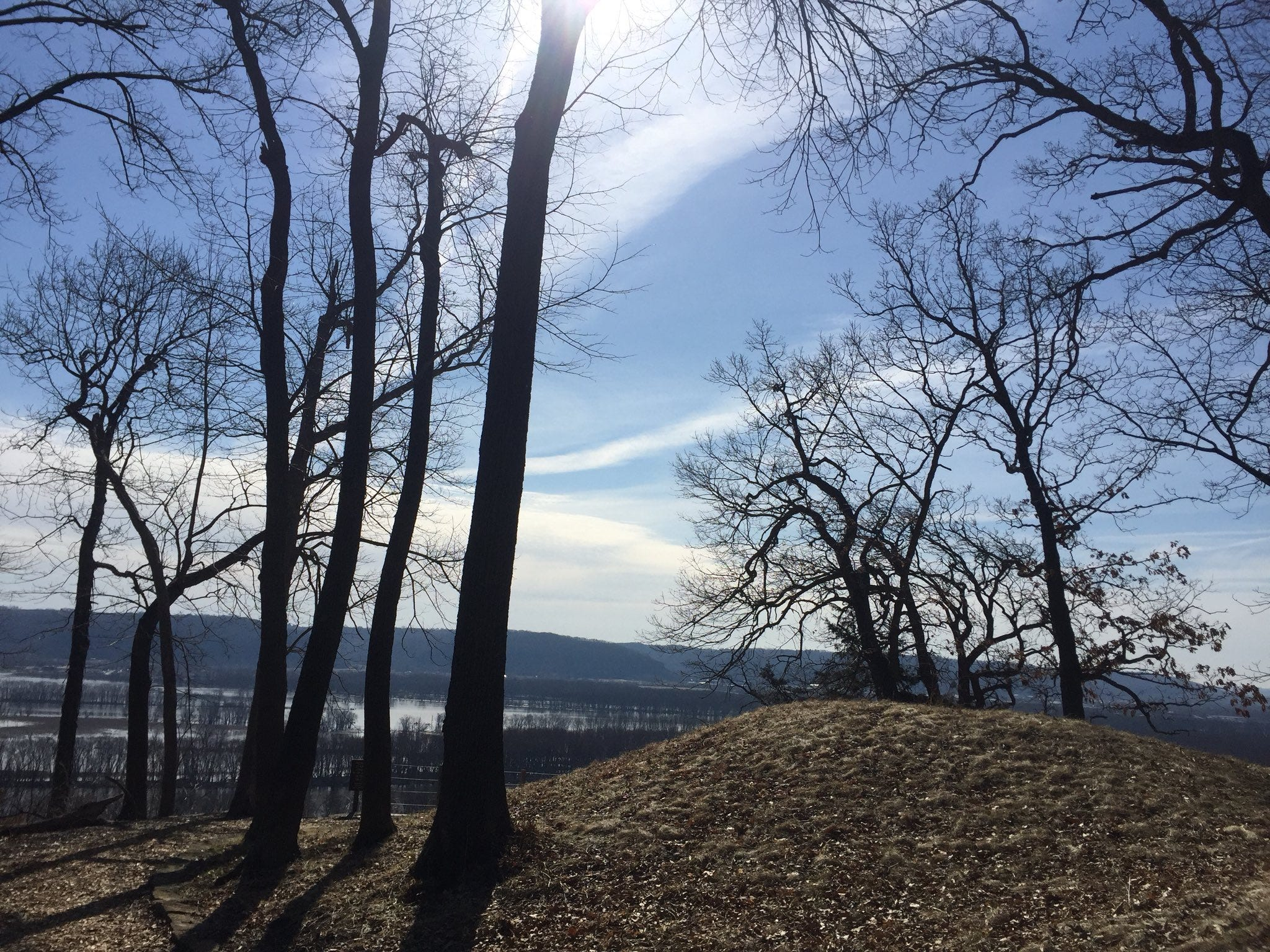 A burial mound is shown at Effigy Mounds National Monument on April 23, 2018.