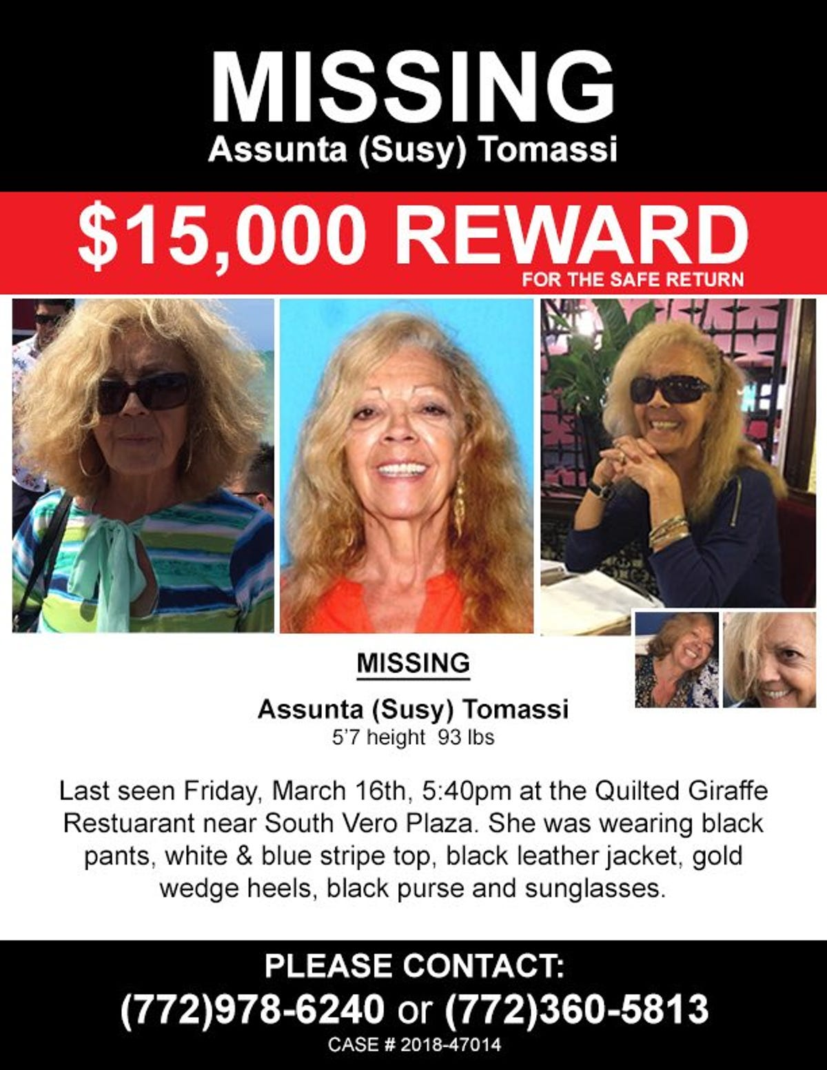 What happened to Susy Tomassi? 73-year-old with dementia
