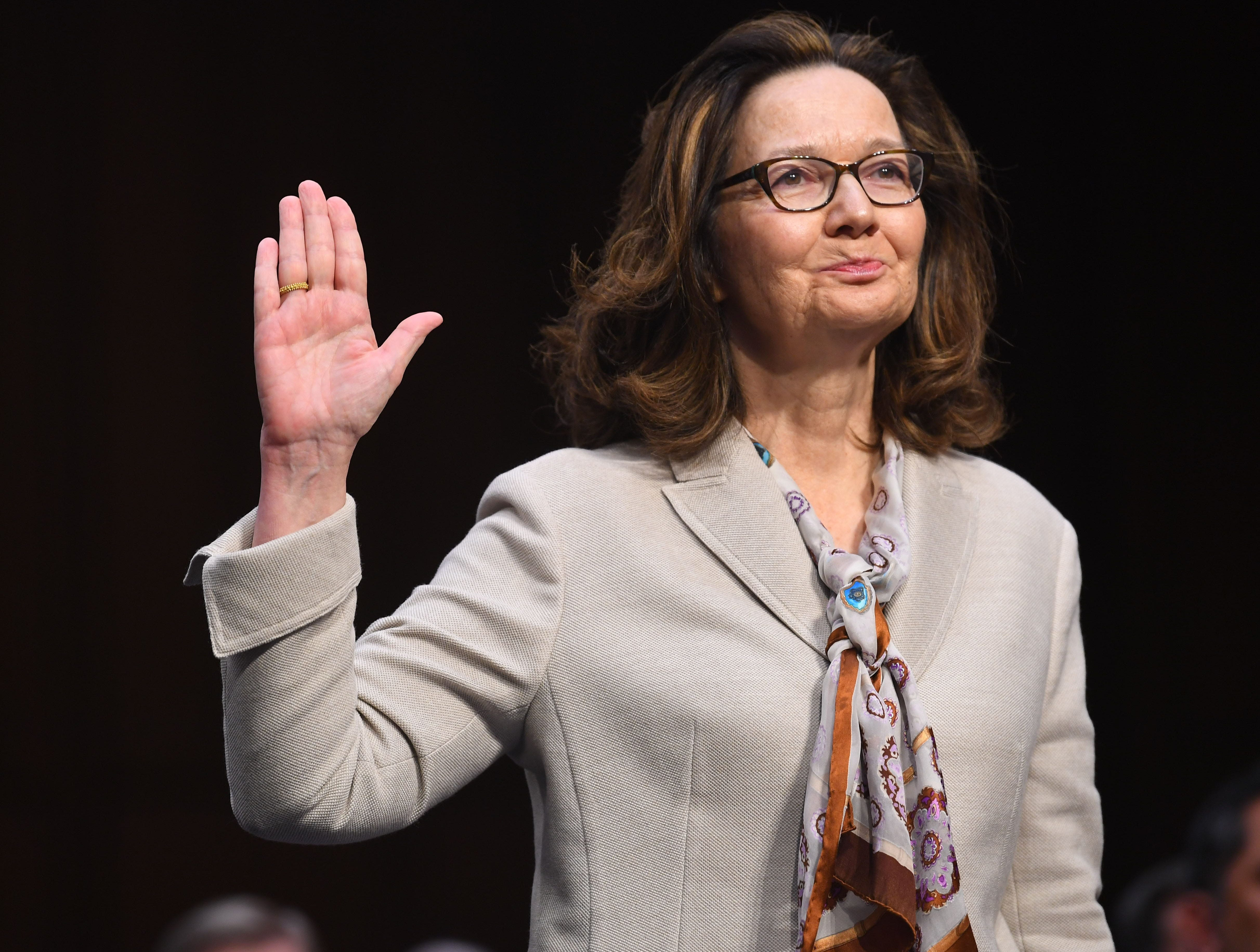 Gina Haspel testifies in front of the U.S. Senate Select Committee on Intelligence during her confirmation hearing March 13, 2018 in Washington.  President Trump nominated Haspel to be CIA Director, replacing Mike Pompeo, the current Secretary of Sta