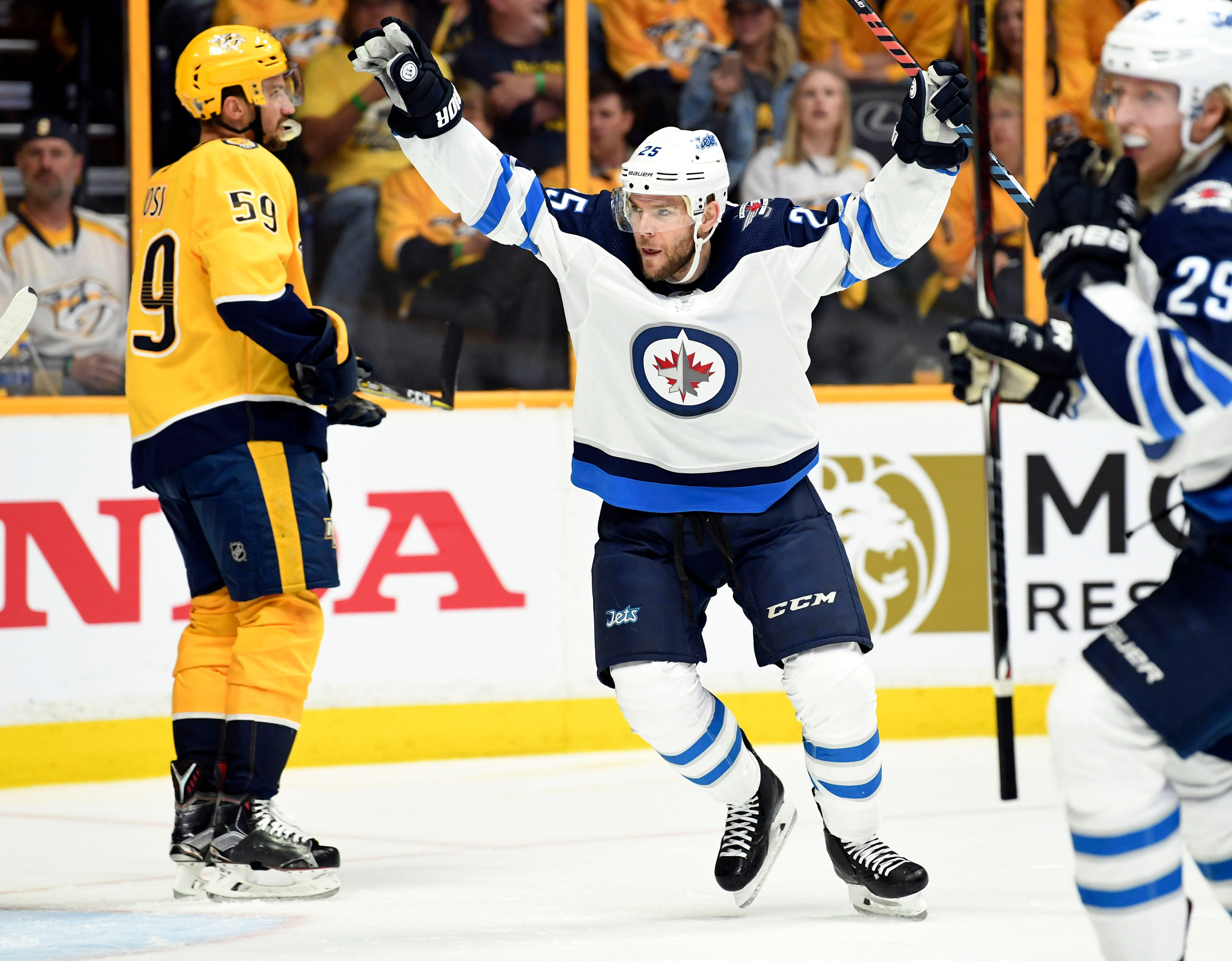 Winnipeg Jets center Paul Stastny celebrates a goal during the first period against the Nashville Predators in game seven of the second round of the 2018 Stanley Cup Playoffs at Bridgestone Arena in Nashville.