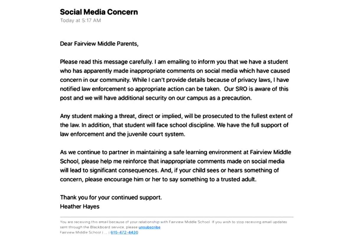 Fairview Middle email raises concerns among parents