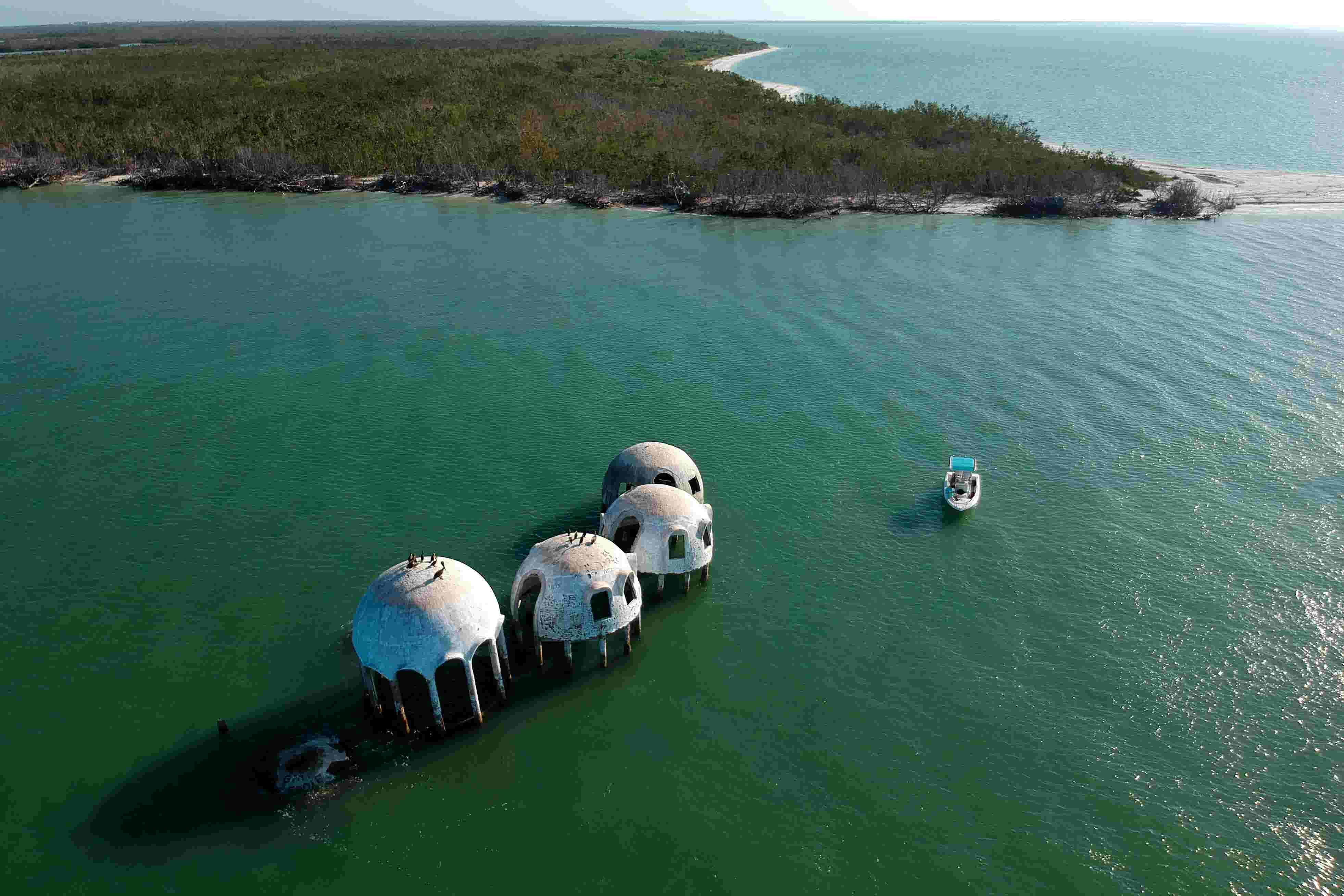Aerial view: Cape Romano dome homes