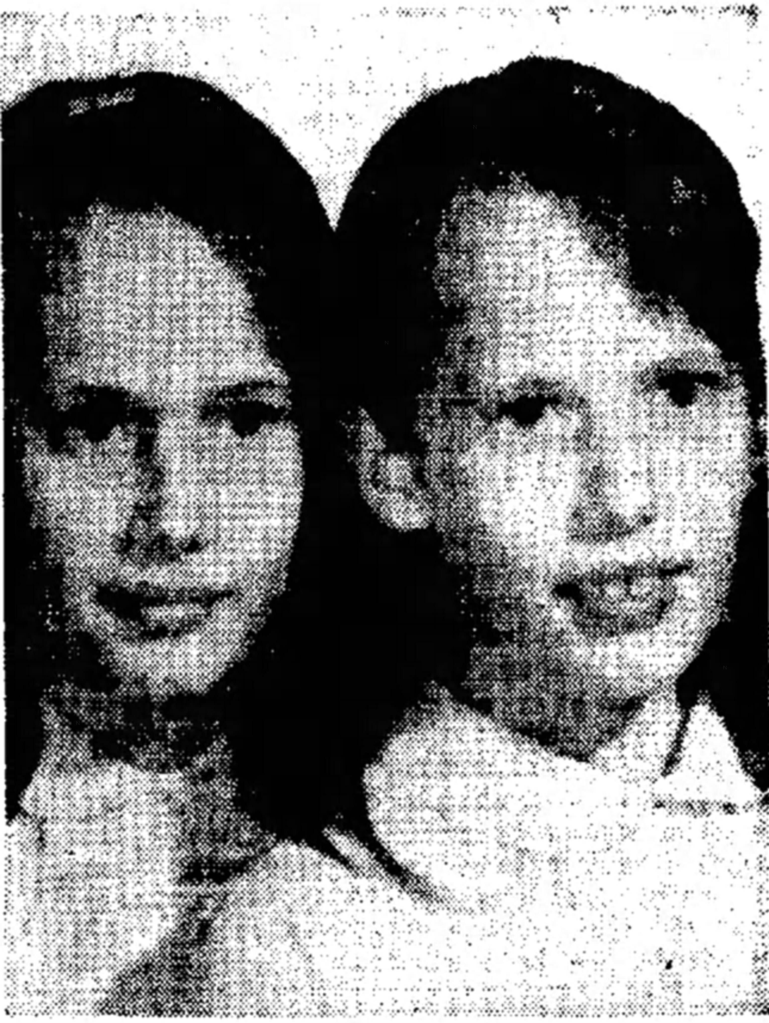 Peggy Reber (right) and her twin sister Kathryn, pictured in the Lebanon Daily News on May 28, 1968.