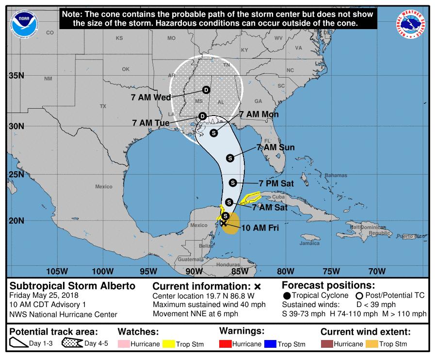 Subtropical Storm Alberto forms