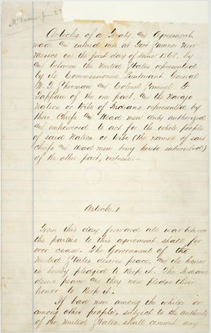 This is an image of the first page of the treaty between the U.S. government and the Navajo people signed at Fort Sumner on June 1, 1868.