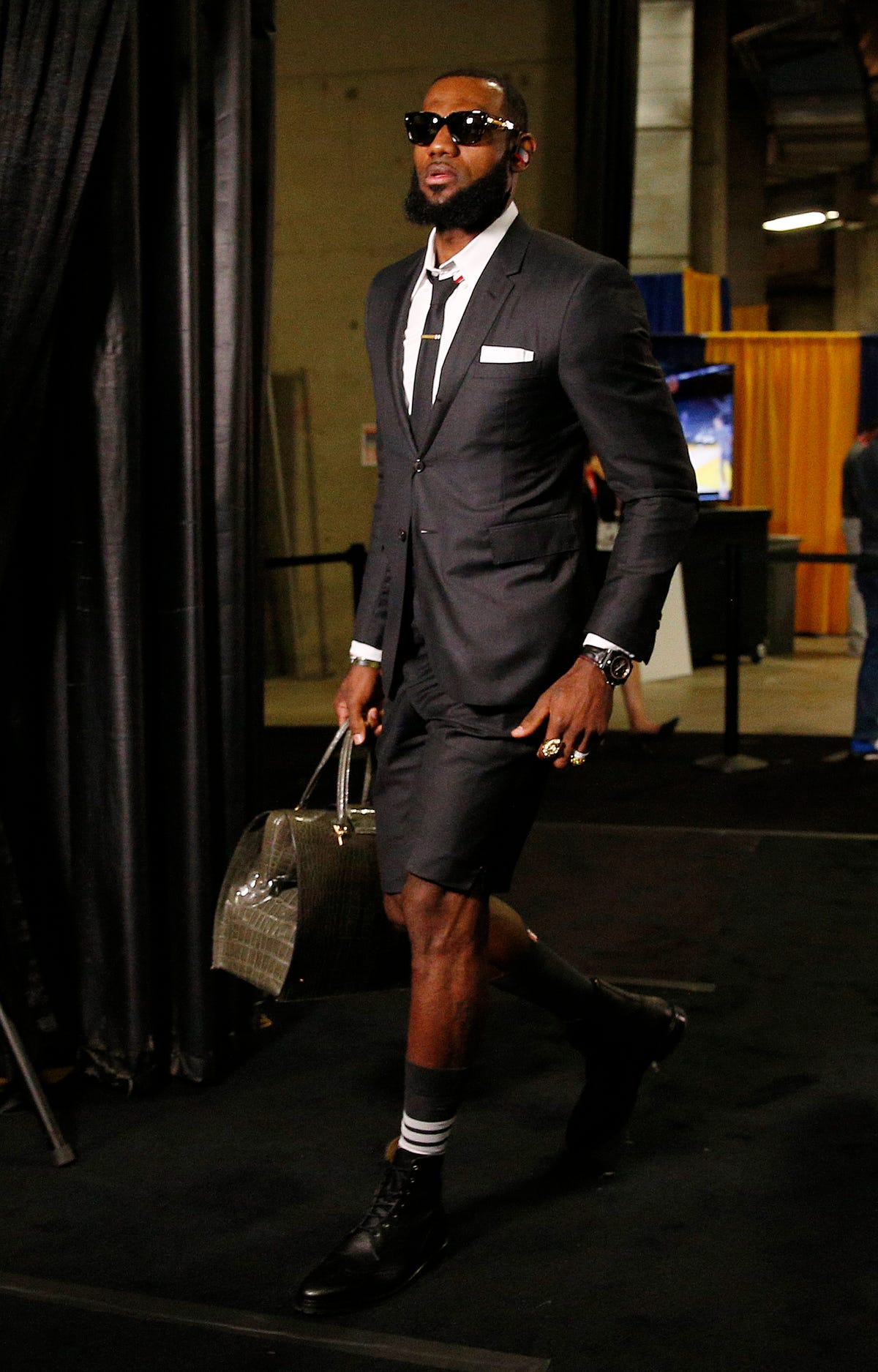 Why did LeBron James wear shorts with his suit to Game 1 of the NBA Finals  f5d691a5f