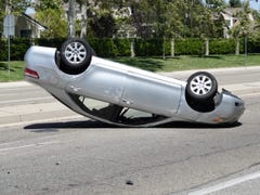 This Conejo crash flipped car, injured 1 person