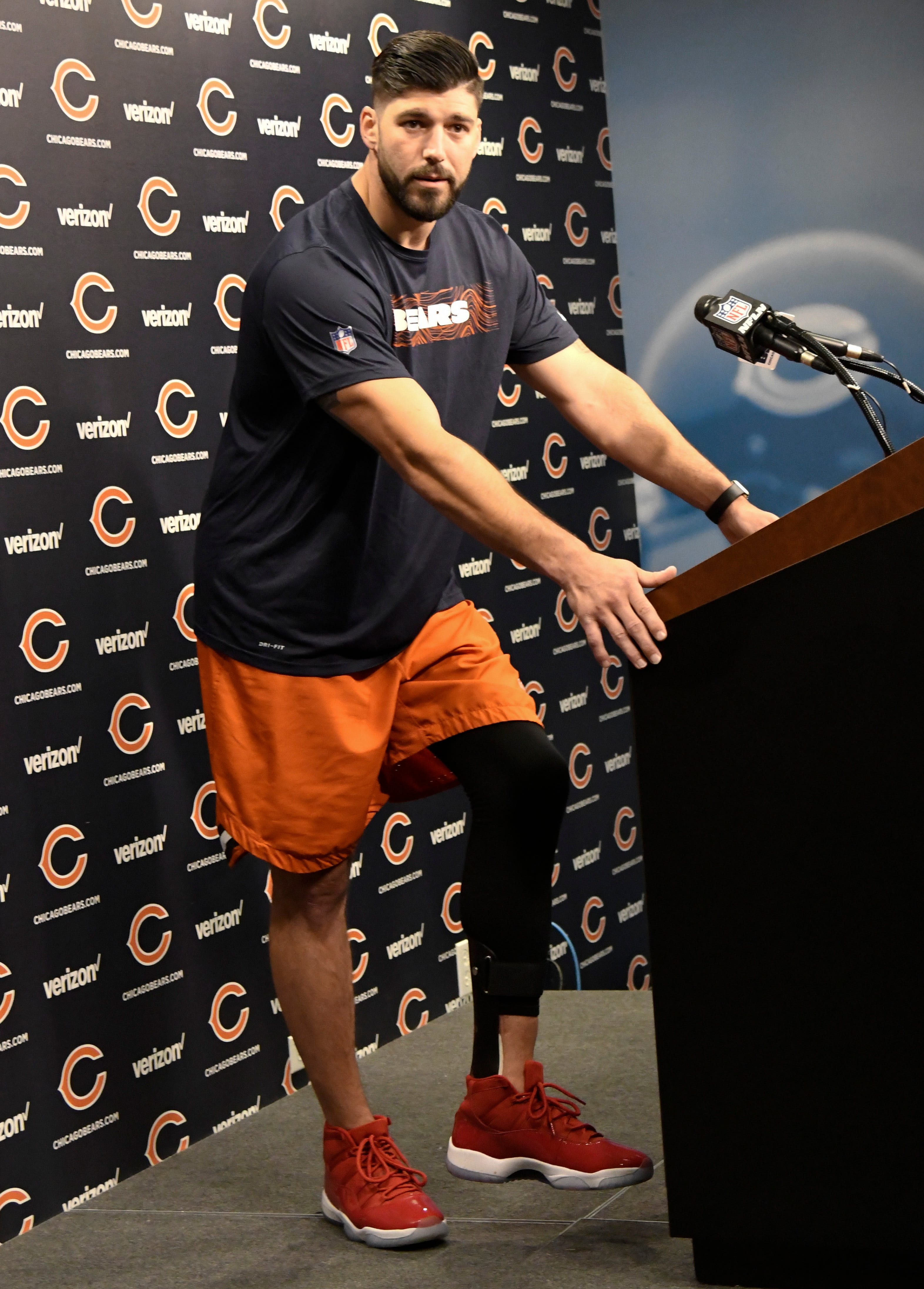 Bears' Miller won't set limits on recovery from leg injury