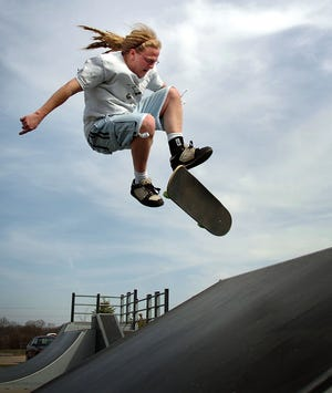 Seth Hanninen of Waukesha does a trick on a ramp at the town of Delafield Sports Commons Skatepark. The city of Oconomowoc is expected to get a skatepark of its own later this year.