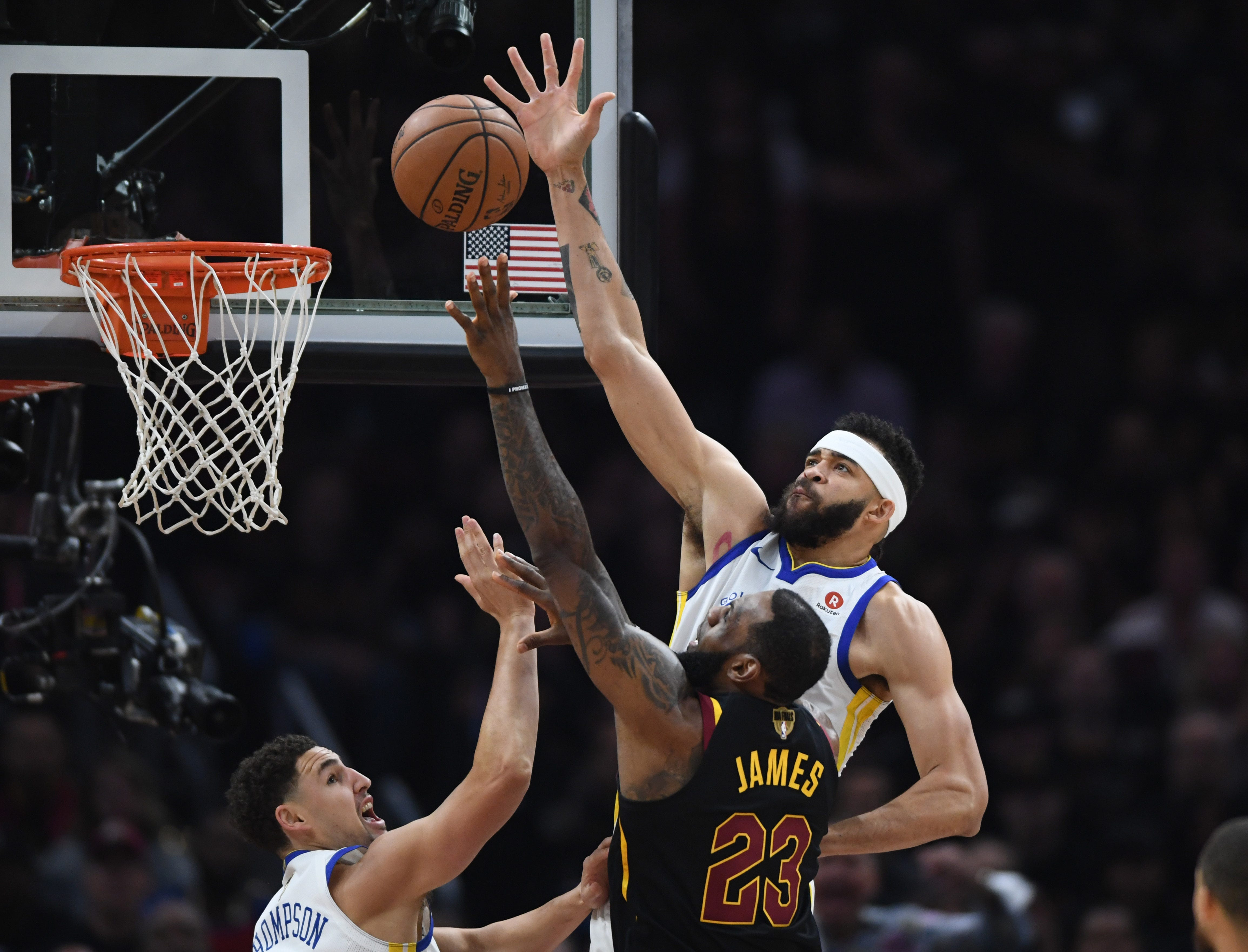 Golden State Warriors center JaVale McGee blocks a shot by Cleveland Cavaliers forward LeBron James during the first quarter in Game 3 of the 2018 NBA Finals at Quicken Loans Arena in Cleveland.