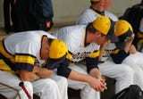 Grand Ledge baseball coach Pat O'Keefe meets with the media after the Comets lost to Brownstown Woodhaven, 1-0, in the Division 1 state quarterfinals.
