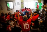 About 50 friends and family with Egyptian ties packed the home of Mokhtar and Amany Elhendy in Hanover Twp. to cheer on Egypt's national soccer team, known as The Pharaohs in the 2018 World Cup.