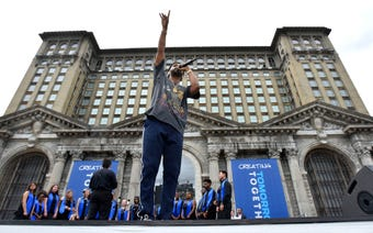 It was a festive day at the Michigan Central Depot as Ford welcomed visitors to its future offices