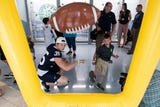 Penn State football players played games, shared laughs and made new friends at Penn State Hershey Children's Hospital.