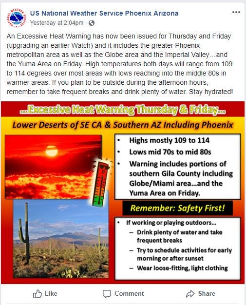 Phoenix weather: Excessive-heat warning for June 21 and 22 | Arizona Central
