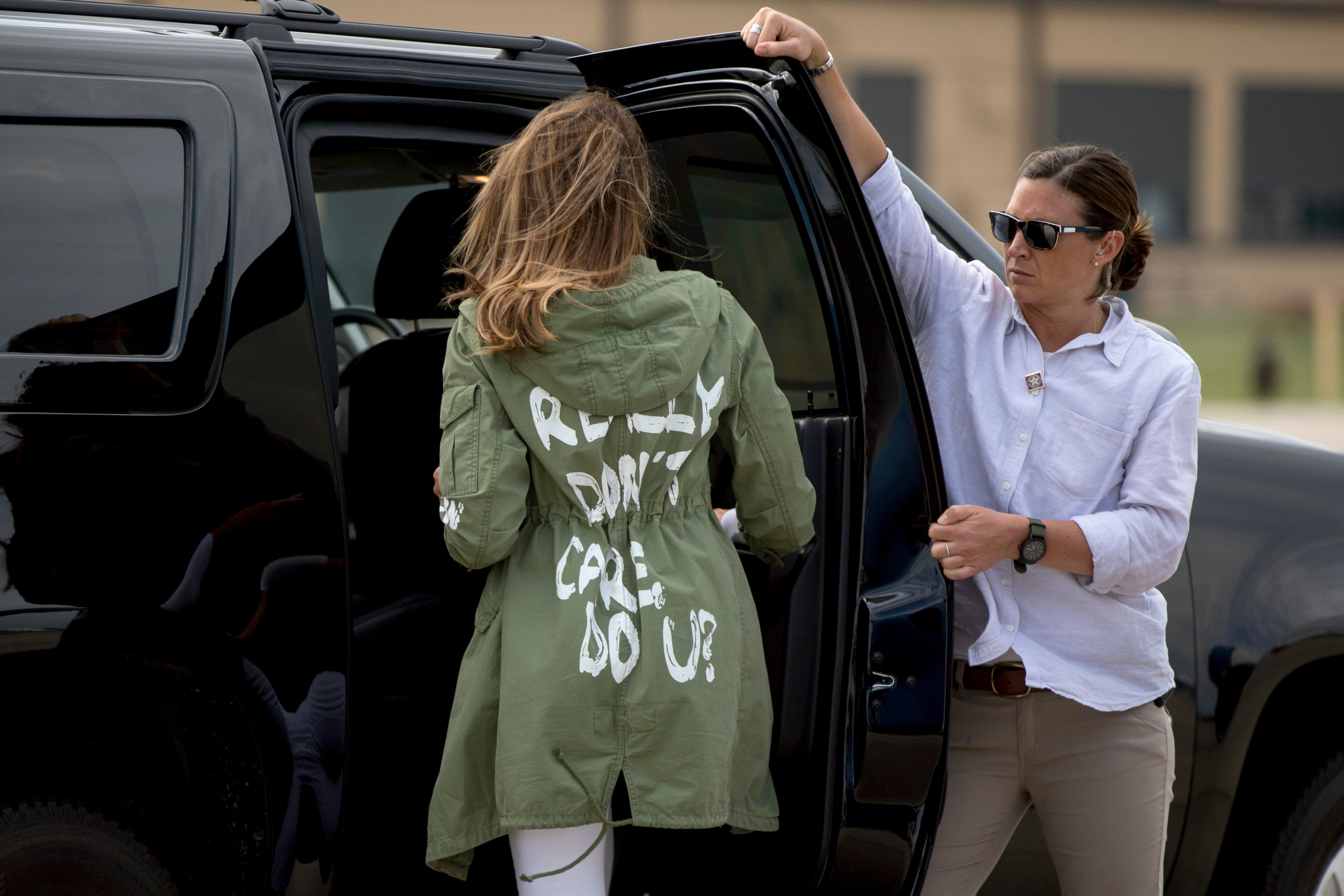 Melania Trump's jacket is the Trump administration