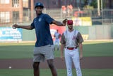 Memphis Grizzlies draft picks Jaren Jackson Jr.  and Jevon Carter throw out first pitches at the Redbirds game on June 22, 2018.