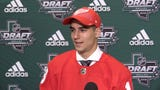 The Detroit Red Wings chose center Joe Veleno with their second pick of the first round, 30th overall. Veleno talks about being drafted by the Wings.