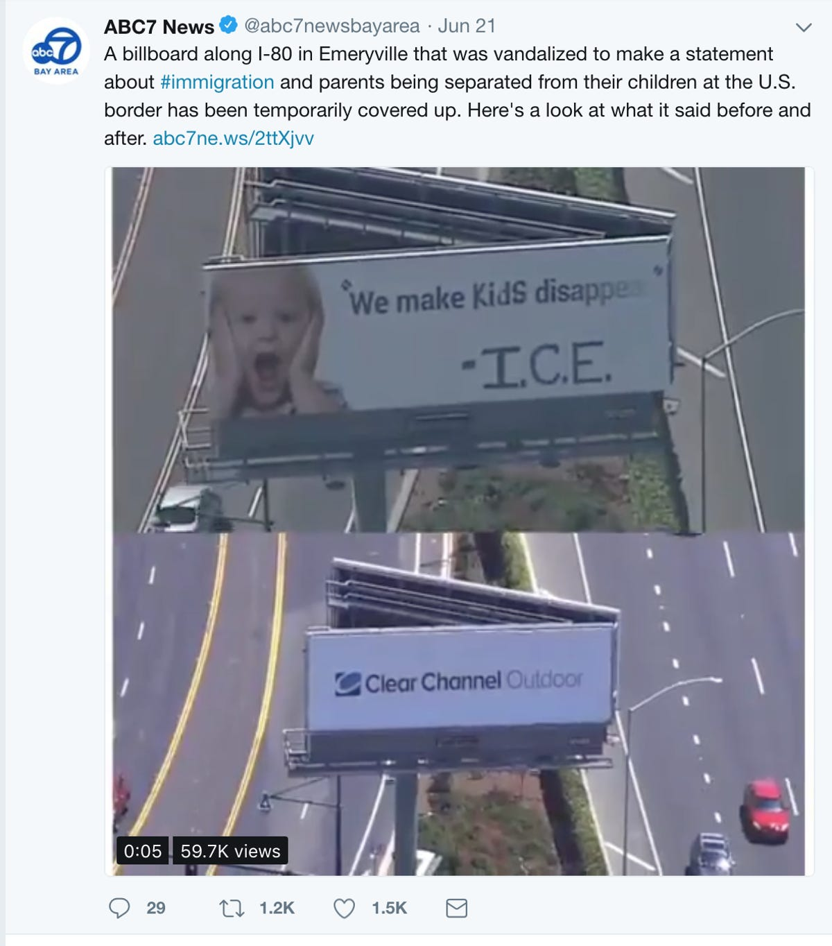 ICE makes 'kids disappear': Billboard vandalized in California