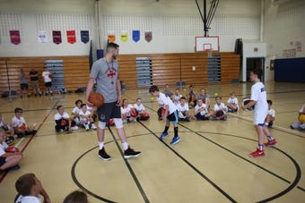 Elizaville's Tyler Lydon, a member of the Denver Nuggets, is hosting a youth basketball camp at his old high school. And the kids are loving it.