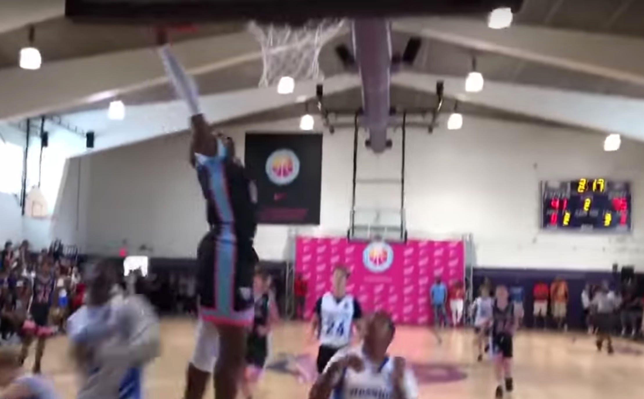 LeBron James Jr. NEARLY dunks in game before Dad's pep talk