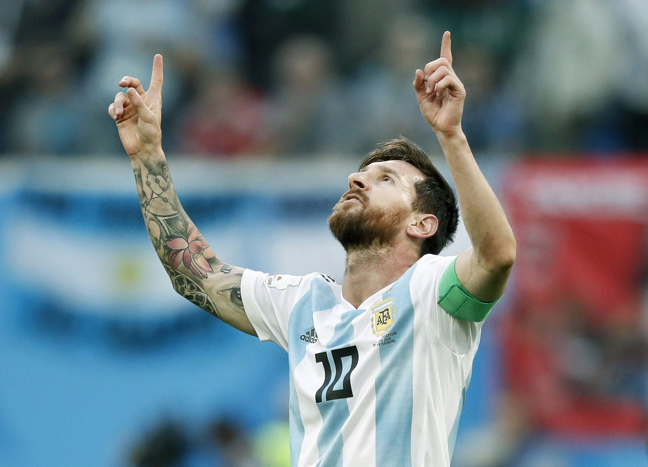 Lionel Messi, from Argentina, celebrates his goal against Nigeria in Group D play during the FIFA World Cup 2018 at St. Petersburg Stadium in St. Petersburg, Russia.